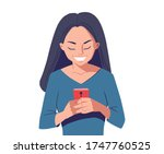 young woman with smartphone.... | Shutterstock .eps vector #1747760525