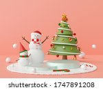 christmas scene podium with...   Shutterstock . vector #1747891208