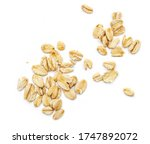 Oat Flakes Isolated On White...