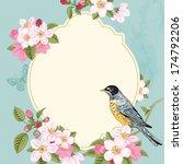 vintage vector card spring.... | Shutterstock .eps vector #174792206