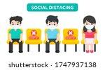 social distancing. vector... | Shutterstock .eps vector #1747937138