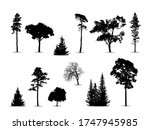 black silhouettes of trees on a ... | Shutterstock .eps vector #1747945985