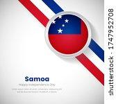 artistic samoa national flag on ... | Shutterstock .eps vector #1747952708