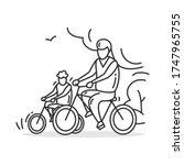 riding bike family icon.outline ... | Shutterstock .eps vector #1747965755