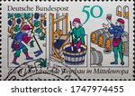 Small photo of GERMANY - CIRCA 1980: a postage stamp showing a woodcut from the textbook Rucelia commoda by Petrus de Crescentiis.Text: Two millennia of viticulture in Central Europe