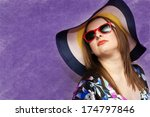 portrait of a girl in a hat on... | Shutterstock . vector #174797846