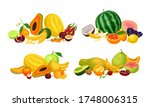 exotic fruits composition with... | Shutterstock .eps vector #1748006315