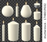 realistic candles. holidays... | Shutterstock .eps vector #1748019032