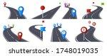 roadmap with pins. bending... | Shutterstock .eps vector #1748019035