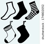 socks and hristmas stocking.... | Shutterstock .eps vector #174802052