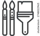 brushes black line icon on... | Shutterstock .eps vector #1748022965