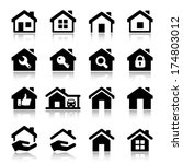 House Icon Set  Black Color ...