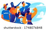a team of young people looking... | Shutterstock .eps vector #1748076848
