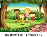 illustration of the four kids... | Shutterstock .eps vector #174809546