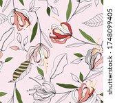 pink pastel blooming  flowers...   Shutterstock .eps vector #1748099405