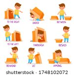 little boy and carton box as...   Shutterstock .eps vector #1748102072