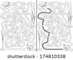 Stock vector frogs maze for kids with a solution in black and white 174810338