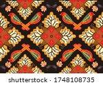 indonesian batik motif with a... | Shutterstock .eps vector #1748108735
