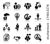 icon set in black for business  ... | Shutterstock .eps vector #174813278
