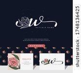 handwriting letter w logo... | Shutterstock .eps vector #1748136425