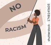 black girl holds a banner... | Shutterstock .eps vector #1748145605
