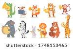 animals play music. cute animal ... | Shutterstock .eps vector #1748153465