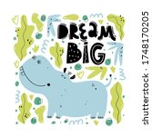 dream big. cute hand drawn... | Shutterstock .eps vector #1748170205