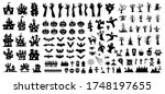 set of silhouettes of halloween ... | Shutterstock .eps vector #1748197655