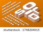 solid alphabet font. 3d... | Shutterstock .eps vector #1748204015