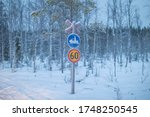 A Snowmobile Sign In A Snowy ...