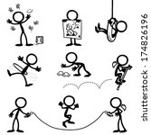 stick figure kids playing   Shutterstock .eps vector #174826196