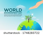 world environment day with hand ... | Shutterstock .eps vector #1748283722
