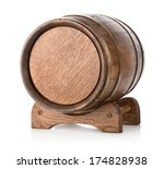 wooden barrel on stand isolated ... | Shutterstock . vector #174828938