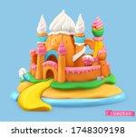sweet castle. 3d vector object. ... | Shutterstock .eps vector #1748309198