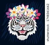 white tiger roar head wild cat... | Shutterstock .eps vector #1748361662