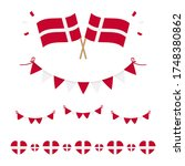 Set, collection of flags, borders and garlands for Flag Day in Denmark and for other national holidays.