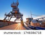 Port city of Rijeka cranes at breakwater view, Kvarner bay, northern Adriatic in Croatia
