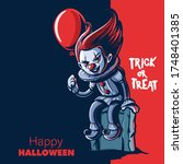 horror clown cartoon for... | Shutterstock .eps vector #1748401385
