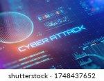 cyber attack concept. bright... | Shutterstock . vector #1748437652