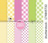 set of cute seamless patterns   ... | Shutterstock .eps vector #174845732