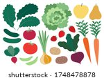 farm produce set. isolated... | Shutterstock .eps vector #1748478878