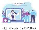 online doctor  couple with... | Shutterstock .eps vector #1748511095