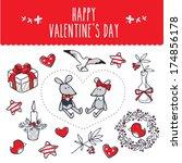 valentine's  set | Shutterstock .eps vector #174856178