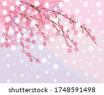 the pink sakura blossoms.... | Shutterstock .eps vector #1748591498