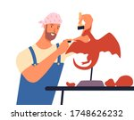 male artist create sculpture of ... | Shutterstock .eps vector #1748626232
