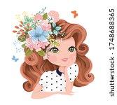 pretty girl portrait with... | Shutterstock .eps vector #1748688365