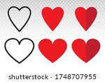 red heart shape   love  ...   Shutterstock .eps vector #1748707955
