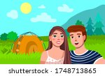 tourist couple hiking activity. ... | Shutterstock .eps vector #1748713865