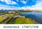 Haikou Cityscape in the Haikou Bay Area, Hainan, China. Panoramic Aerial View of City Skyline and Public Parks in the Morning.