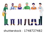 essential workers holding blank ... | Shutterstock .eps vector #1748727482
